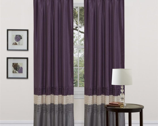 Lush Decor - Mia Gray/Purple Window Curtain - Set of 2 - Includes: 2 Window Panels. Fabric Content:100% Polyester. Color: Gray/Purple. Care Instruction: Dry clean. 54 in. x 84 in. Transform and brighten your room with this colorful faux silk window panel. The 3 colors blocks transition into each other with a series of 4 pleats giving the panel a clean and very finished look. There is a rod pocket for quick and easy installation.