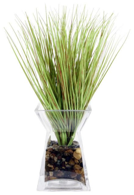 Grass In Acrylic Water Glass Vase Contemporary Artificial Plants And Trees By Michael