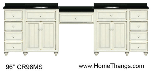 Sagehill Designs 96 Double Bathroom Vanity With Make Up Station Homethangs Traditional