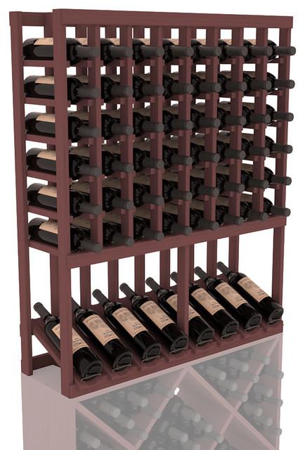 High Reveal Wine Rack Display in Pine, Walnut Stain contemporary-wine-racks