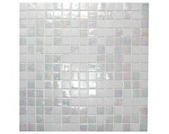 Mixed White Cloud Glimmer Glass Tile modern-tile