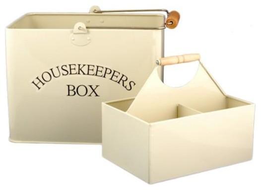 Cream Enamel Housekeepers Bucket Storage Set traditional-baskets