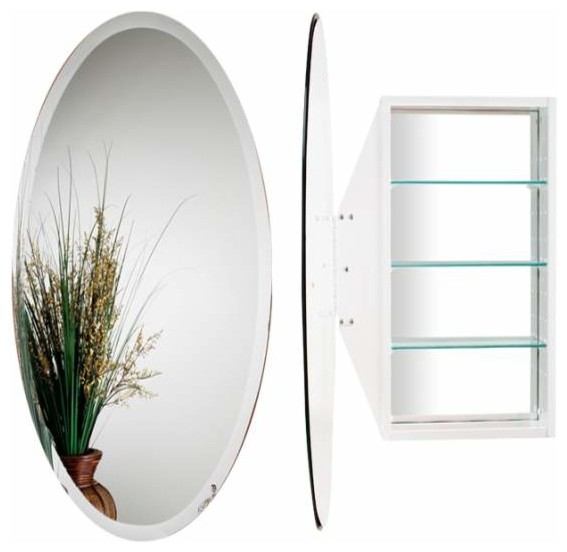Alno Creations Oval Mirror Cabinet White Mc4912-W - Traditional - Bathroom Mirrors - by KnobDeco