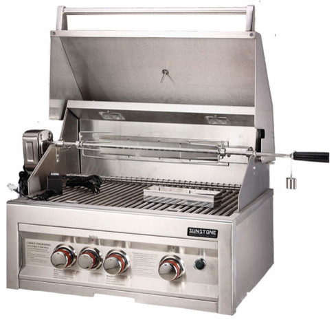"28"" LP Infrared 3 Burner Gas Grill with Lights contemporary-outdoor-grills"