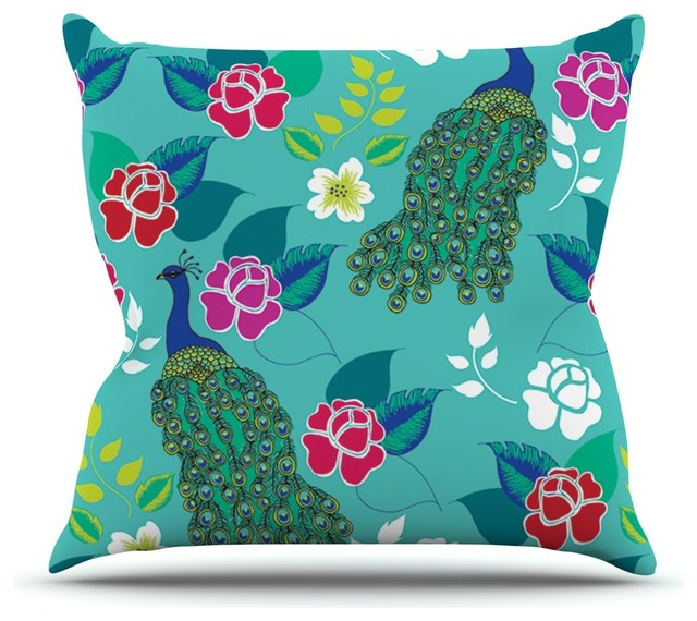 "Anneline Sophia ""Mexican Peacock"" Teal Rainbow Throw Pillow (26"" x 26"") contemporary-decorative-pillows"