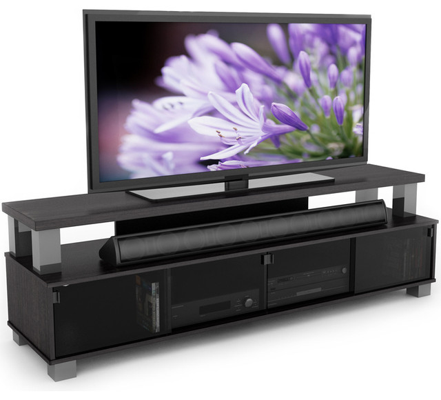 sonax bromley ravenwood black 75 inch 2 tier tv bench contemporary entertainment centers and. Black Bedroom Furniture Sets. Home Design Ideas