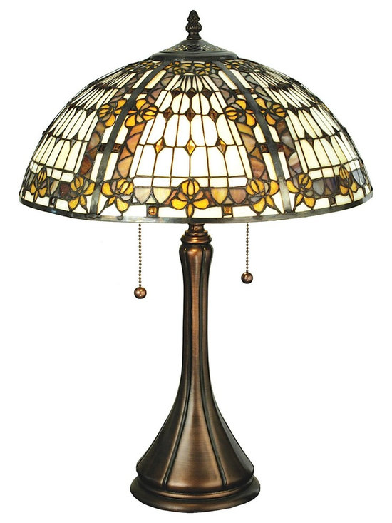 Meyda Tiffany - Meyda Tiffany Fleur-De-Lis Fleur-de-lis Tiffany Table Lamp X-13072 - From the Fleur-De-Lis Collection, this Meyda Tiffany table lamp features a classic dome lamp shade with art glass patterning and fleur-de-lis accents. The neutral colors of the art glass shade make it a classic while the curvilinear shape of the base and the warm bronze finish pull the look together.