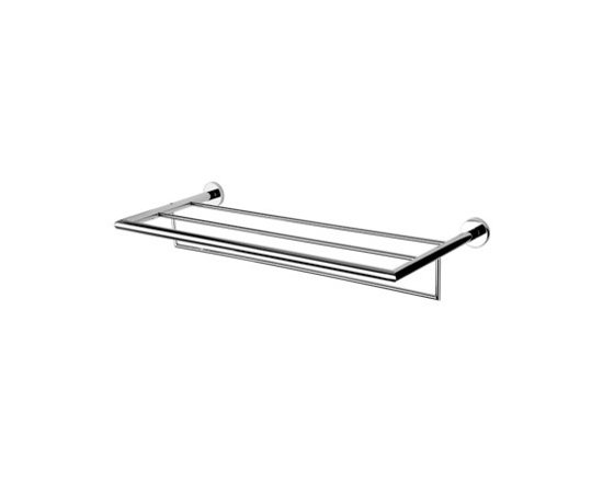 """24"""" Bathroom Train Rack by Geesa - Square themed train rack for the bathroom. Made of brass with a polished chrome finish. Designed by Geesa in the Netherlands. Width: 24.34"""" Height: 4.02"""" Depth: 10.14"""""""