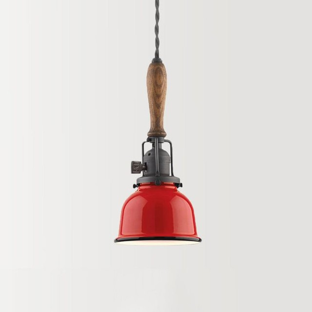 Modern Red Pendant Lighting : Wiley industrial cord pendant tomato red modern