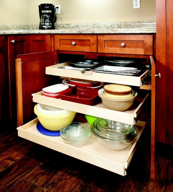 Single-Height Pull Out Shelves contemporary-kitchen-drawer-organizers