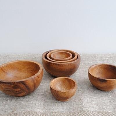 Round Acacia Bowls modern-serveware