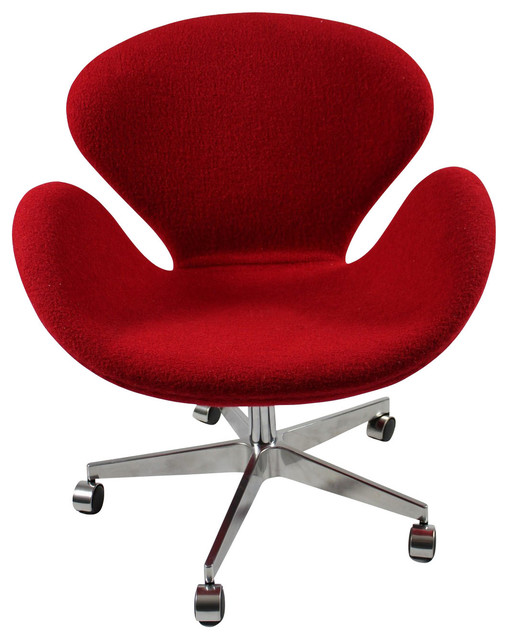 swan office chair in red wool modern office chairs