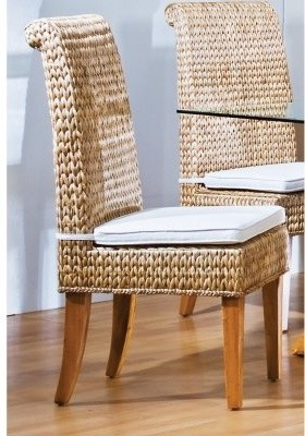hospitality rattan sea breeze indoor seagrass side chair with cushion natural modern. Black Bedroom Furniture Sets. Home Design Ideas