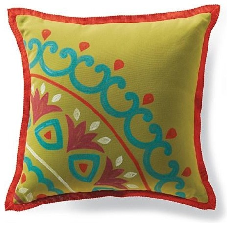 Outdoor Hand-painted Suzani Pillow - Frontgate - Traditional - Outdoor Cushions And Pillows - by ...