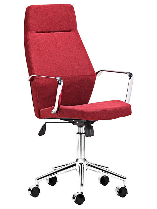"Zuo - Zuo Holt Collection High Back Red Office Chair - The Holt Collection has a geometrical design that is wider at the center of the back than at the top. The plush cushions are wrapped in bright red fabric while the handles and base feature a contemporary chrome finish. A small lever rests just below the seat that allows you to easily adjust the height to your perfect setting. Includes casters for easy mobility. Design by Zuo Modern. Red fabric seat and back. Chrome finish base and arms. Casters. Seat width 19 1/2"". Seat depth 18"". Adjustable 16 1/2"" to 20"" seat height. Adjustable 40"" to 43 1/2"" overall height. Base is 24"" wide.  Red fabric seat and back.   Chrome finish base and arms.   Casters.   Some assembly required.  Seat width 19 1/2"".   Seat depth 18"".   Adjustable 16 1/2"" to 20"" seat height.   Adjustable 40"" to 43 1/2"" overall height.   Base is 24"" wide."