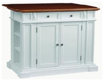 White & Distressed Oak Kitchen Island With Drop Leaf traditional-kitchen-islands-and-kitchen-carts