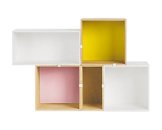 Mini Stacked Shelving System - These stacked shelves have a nice surprise of color inside.