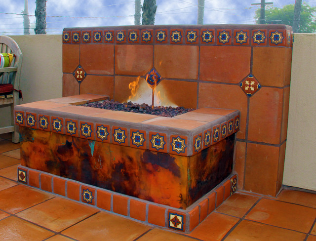 Spanish Tile Entry Deck eclectic-exterior