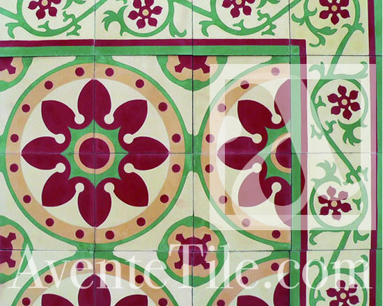 "Traditional Santa Barbara Cement Tile 8"" x 8"" -"