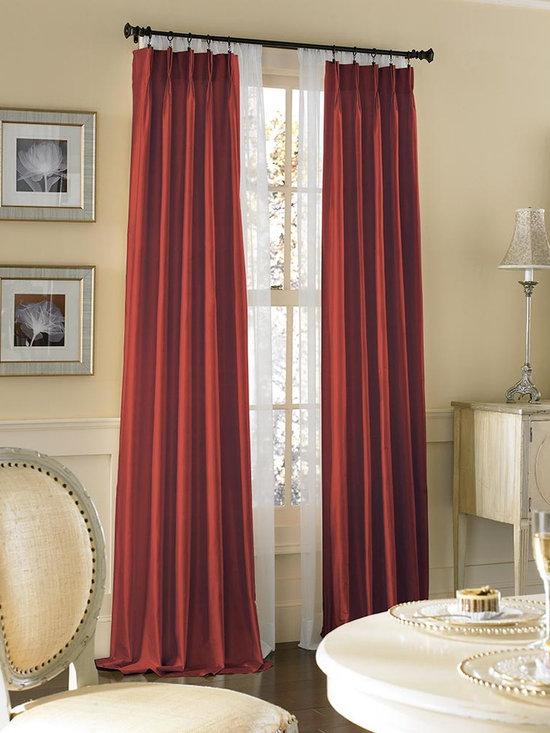 Dupioni Silk Pinch Pleat Luxury Curtain Panel, Crimson -