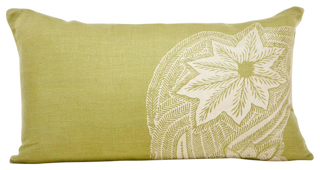 Indochine Sea Fern Swirl Pillow, Moss/Tan contemporary-decorative-pillows