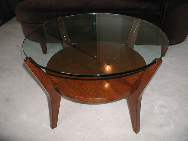 Modernist, Contemporary or Art Deco Glass Top Coffee or