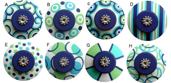 Hand-Painted Knobs With Swarovski Crystals by Lisa Everett Designs - Modern - Cabinet And Drawer ...
