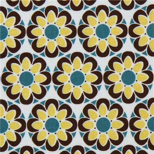light blue Riley Blake fabric with green-brown flowers fabric