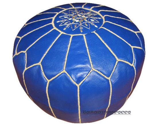 Moroccan Pouf Footstool Ottoman Pouffe Blue -
