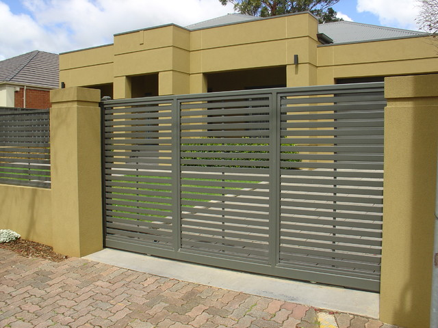 Modern fencing modern home fencing gates adelaide for Home gate architecture