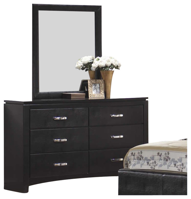 leather 6 drawer dresser and mirror set in black transitional dressers