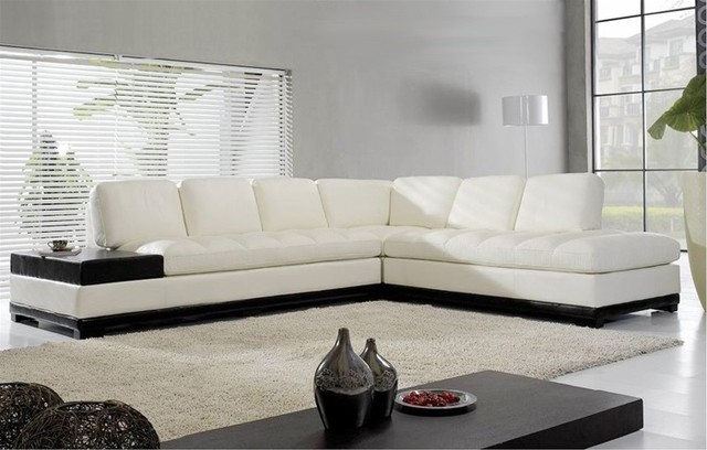 Metzer Leather Sectional Sofa   White Sofas   Contemporary   Sectional