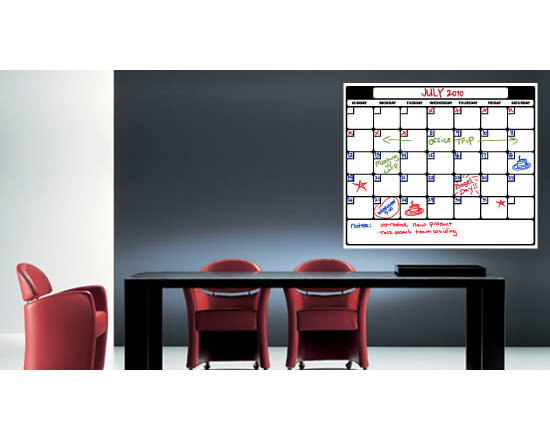 Writable wall decals - This weekly calendar will help you organize your home or office's schedule. You'll be able to visualize your entire month's activity on this removable whiteboard wall decal as well as share it with everyone else. The calendar is made of whiteboard removable vinyl which can be written on with dry erase markers. There are 3 sizes to choose from and starts at $98.