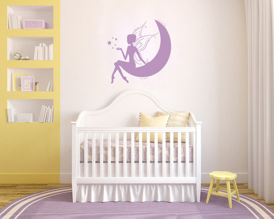 Vinyl Decals Fairy Princess with Stars on Moon Home Wall Art Decor Removable Sti -