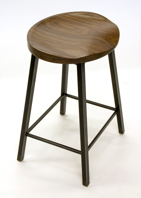 Walnut And Steel Stools Modern Bar Stools And Counter