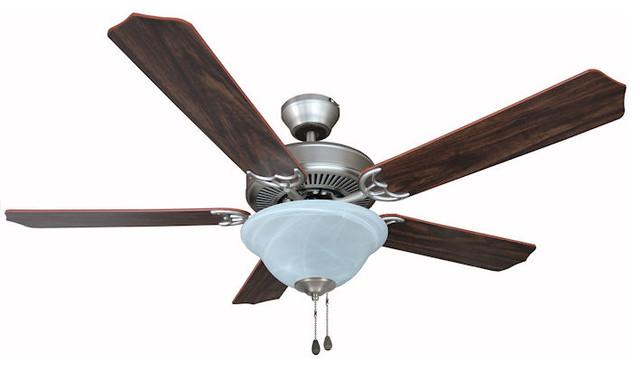 """Satin Nickel 52"""" Ceiling Fan w Light Kit Traditional"""