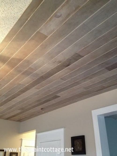 Diy disaster faux plank ceiling for Faux wood ceiling planks