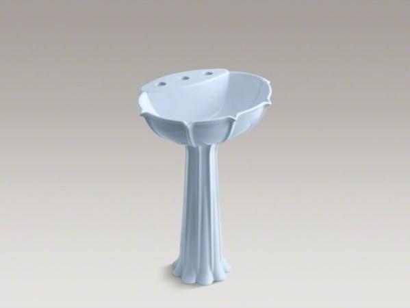 "KOHLER Anatole(R) pedestal bathroom sink with 8"" widespread faucet holes contemporary-bathroom-sinks"