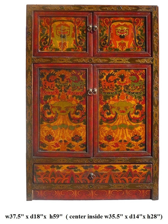 Chinese Tibetan Myth Animal Grapic Armorie Accent TV Cabinet - This is an old cabinet restored. The surface has been painted with traditional Tibetan symbol and myth animal graphic. The main theme is protection myth animal with flower.