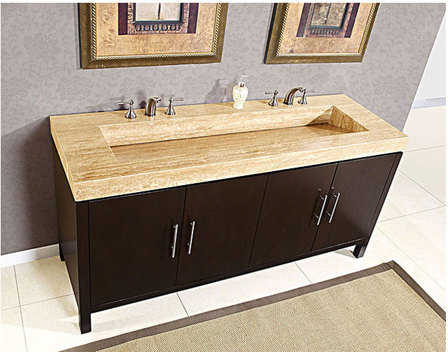 Silkroad exclusive double 72 bathroom vanity hyp 0227 72 for Bathroom 72 inch vanity