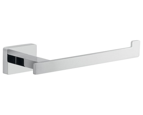 Gedy - Modern Polished Chrome Toilet Paper Holder - Wall mounted toilet paper holder has square mounting plate.