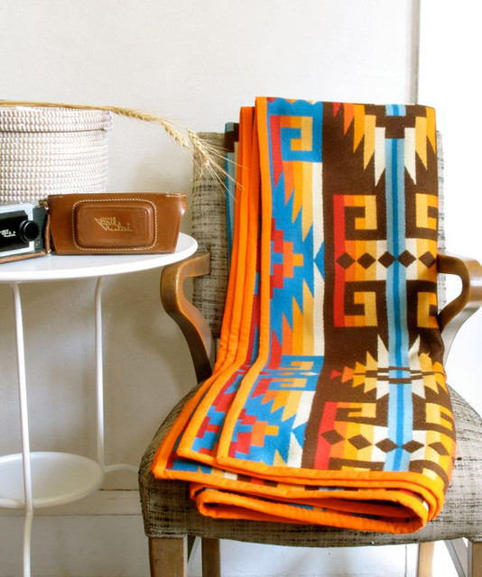 Native American Design Wool Blanket Bright Sunset Colors