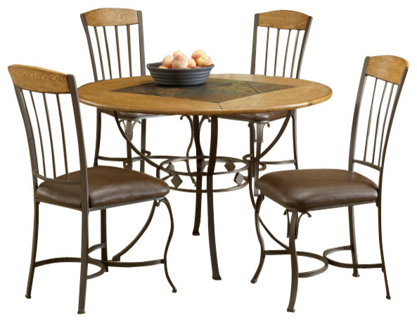Hillsdale lakeview 5 piece round dining room set with wood for Traditional round dining room sets