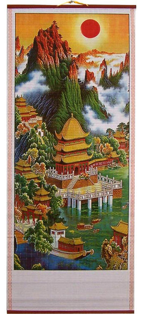 Spectacular Setting Chinese Scroll asian-artwork