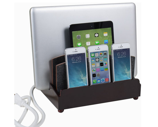 """Great Useful Stuff - Ultra Charging Station - Rustic Modern - Haven't you always dreamt of a place where you can charge all of your tech devices at once and not get tangled in a nest of cords? Dream no more! The new GUS Ultra Charging Station is the perfect answer to your wishes. This Multi Charging Station has enough space to charge three phones, a tablet, and a laptop while keeping all the messy cords organized! The G.U.S. Ultra Charging Station features a new back compartment to accomodate a USB powerstrip (sold separately) capable of charging up to 5 devices, or a standard 6 outlet powerstrip will do the job as well. For the multi-device household (and who isn't?) , this is an product you can't be without! This Ultra Charging Station measures (10"""" length x 8"""" width x 7.25"""" height) and the vertical slot measures 3"""" accommodating most laptops and tablets. (USB Powerstrip or standard 6 outlet Powerstrip are sold separately)."""