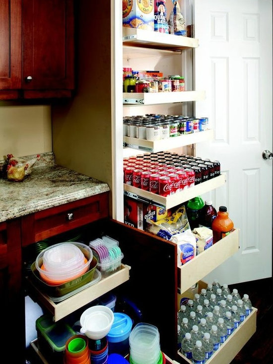 Pull Out Pantry Shelves - Organize your pantry with single-height and double-height pull out shelves for better visibility and easier access to all of your stored items.  Each shelf holds up to 100 pounds, so store your canned foods, baking supplies, rarely used appliances and more.