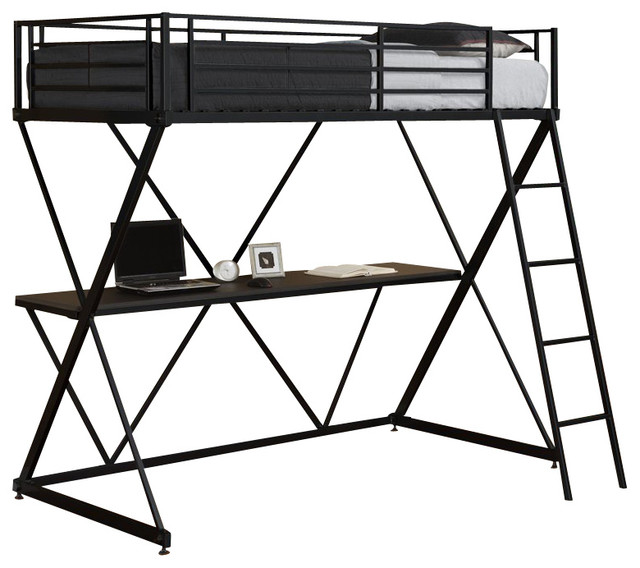 Dhp X Shaped Twin Metal Loft Bunk Bed In Black