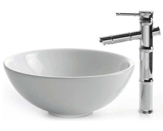 "Kraus C-KCV-141-1300 White Round Ceramic Sink and Bamboo Faucet - APPLY COUPON CODE ""EDHOUZ30"" AT CHECKOUT. JUST OUR WAY OF SAYING THANKS."