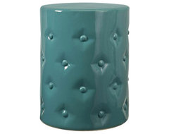 Button Tufting Ceramic Garden Stool asian-side-tables-and-end-tables
