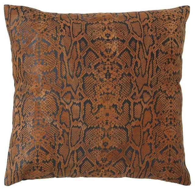 Decorative Designer Real Leather Pillow with Hexagonal Texture traditional-decorative-pillows